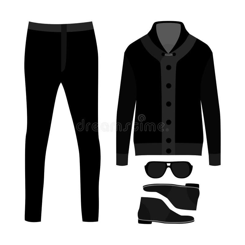 Reeks kleren van in mensen Uitrusting van mensencardigan, broek en toebehoren De garderobe van mensen stock illustratie