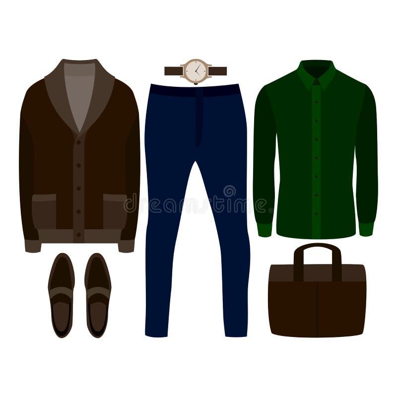 Reeks kleren van in mensen Uitrusting van mensencardigan, overhemd, broek en toebehoren De garderobe van mensen vector illustratie