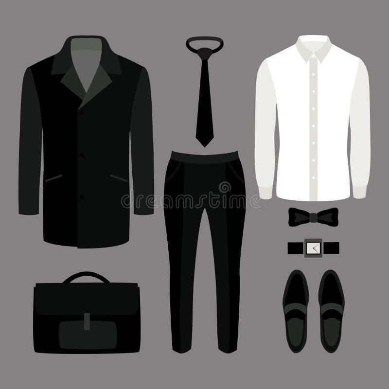 Reeks kleren van in mensen Uitrusting van mensenlaag, broek, overhemd a vector illustratie