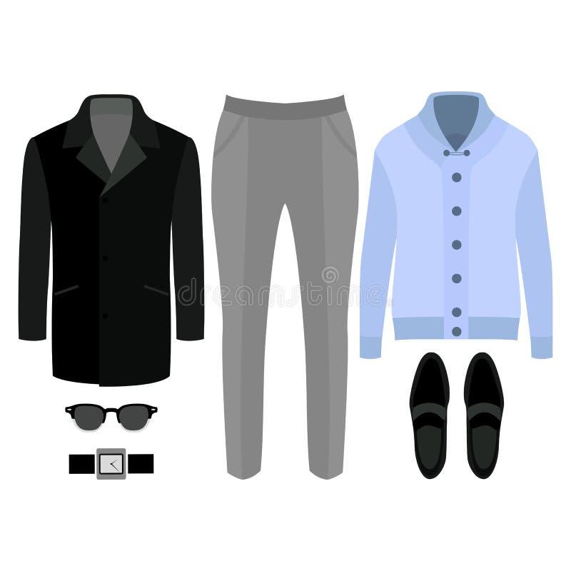 Reeks kleren van in mensen Uitrusting van mensenlaag, cardigan, broek en toebehoren De garderobe van mensen stock illustratie
