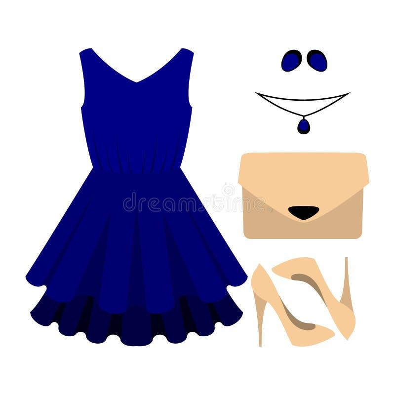 Reeks kleren van in vrouwen met blauwe kleding en toebehoren royalty-vrije illustratie