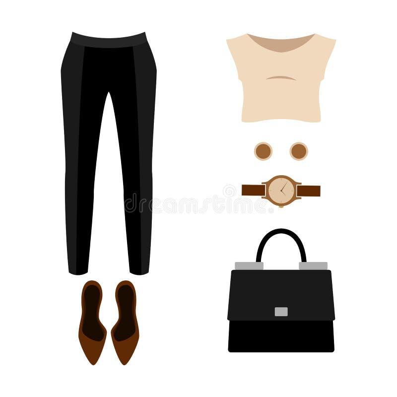 Reeks kleren van in vrouwen met broeken; blouse stock illustratie