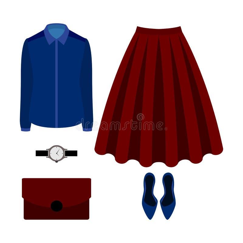 Reeks kleren van in vrouwen met rode rok, blouse en toegang stock illustratie