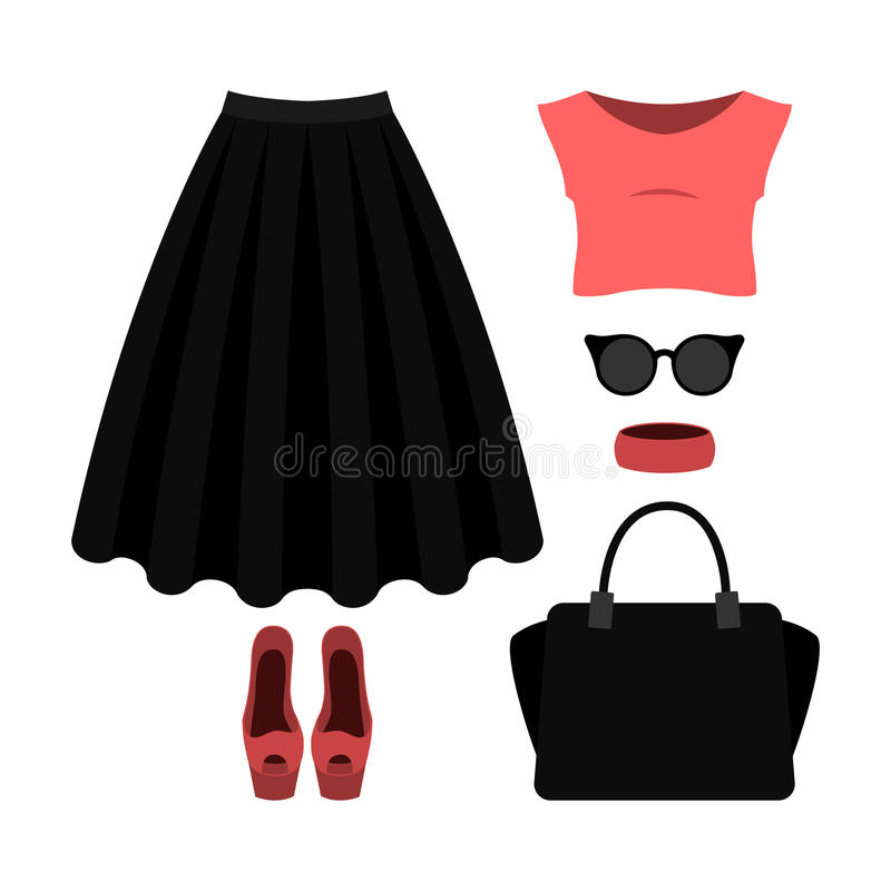 Reeks kleren van in vrouwen met zwarte rok, bovenkant en accesso vector illustratie