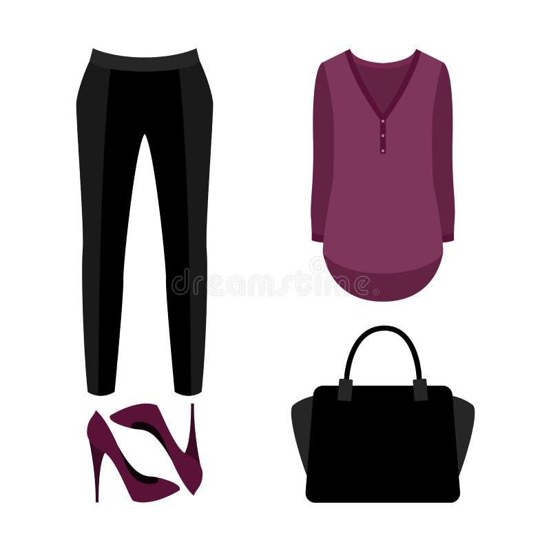 Reeks kleren van in vrouwen Uitrusting van vrouwendamesslipjes, blouse vector illustratie