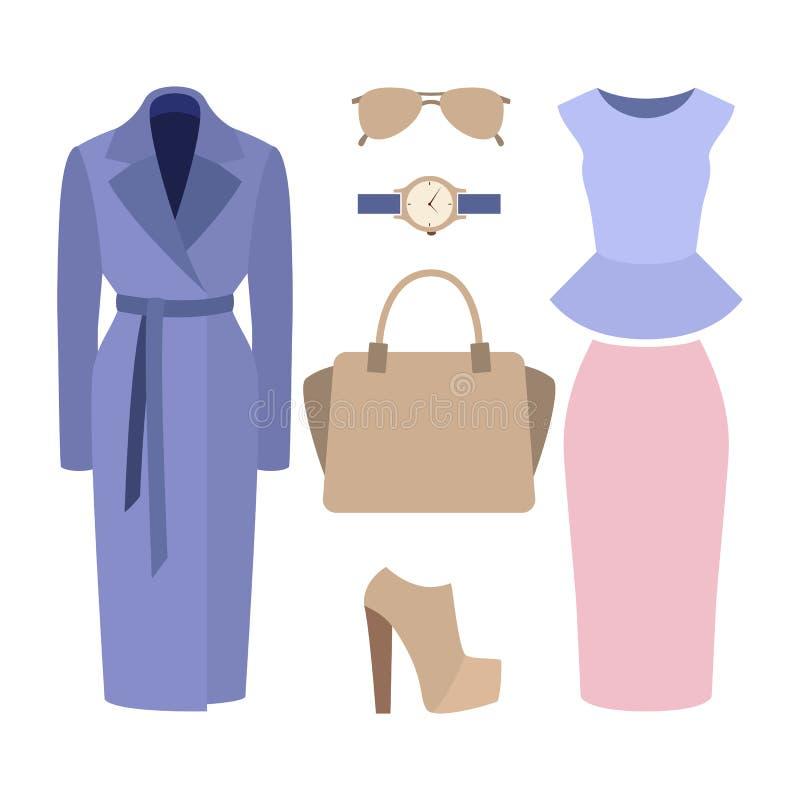 Reeks kleren van in vrouwen Uitrusting van vrouwenlaag, rok, fut royalty-vrije illustratie