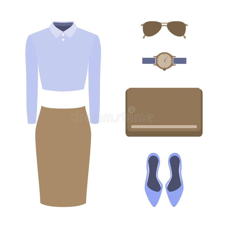 Reeks kleren van in vrouwen Uitrusting van vrouwenrok, blouse en vector illustratie