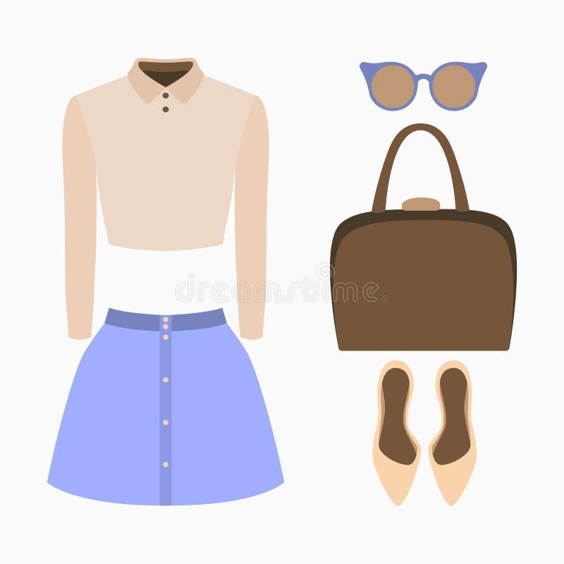Reeks kleren van in vrouwen Uitrusting van vrouwenrok, blouse en toebehoren vector illustratie