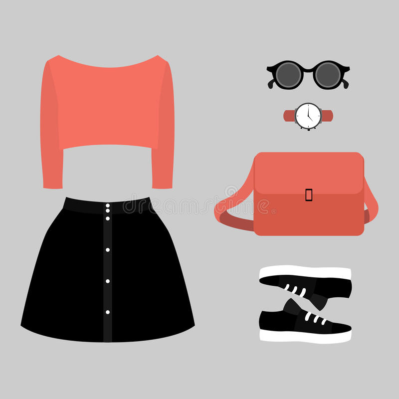 Reeks kleren van in vrouwen Uitrusting van vrouwenrok, trui en toebehoren vector illustratie