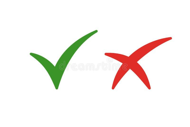 Reeks kleur geïsoleerde pictogrammen van kruis en tik op witte achtergrond Groen en rood pictogram van controle Groen ja Rode No royalty-vrije illustratie