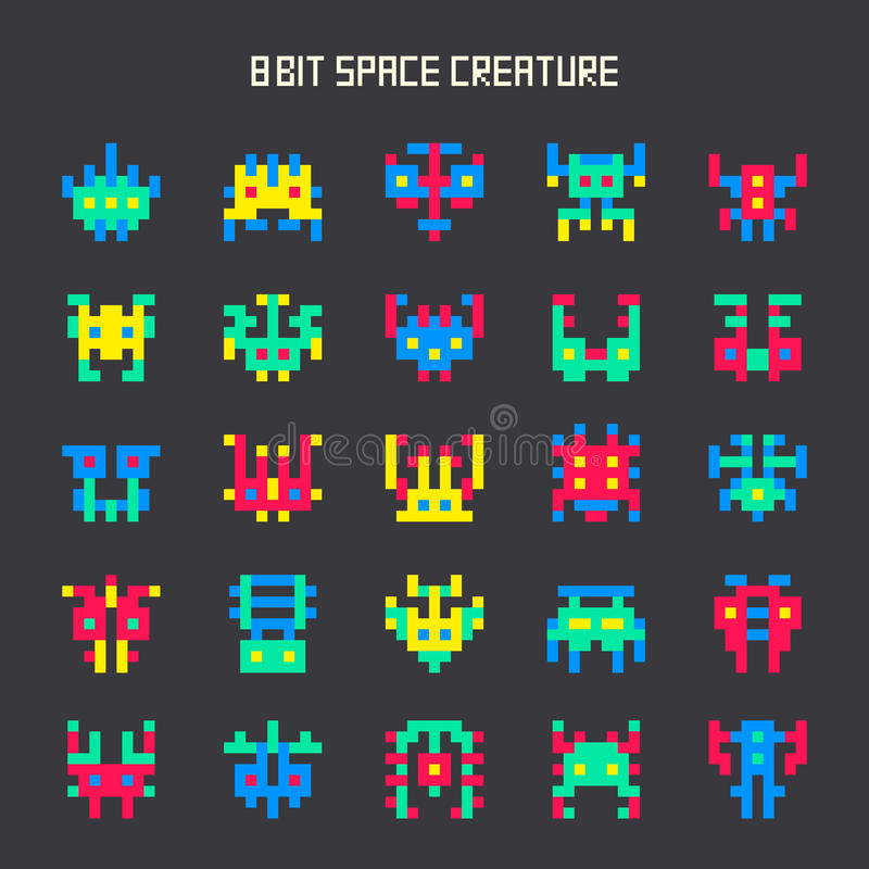 Reeks kleuren ruimtemonsters met 8 bits stock illustratie
