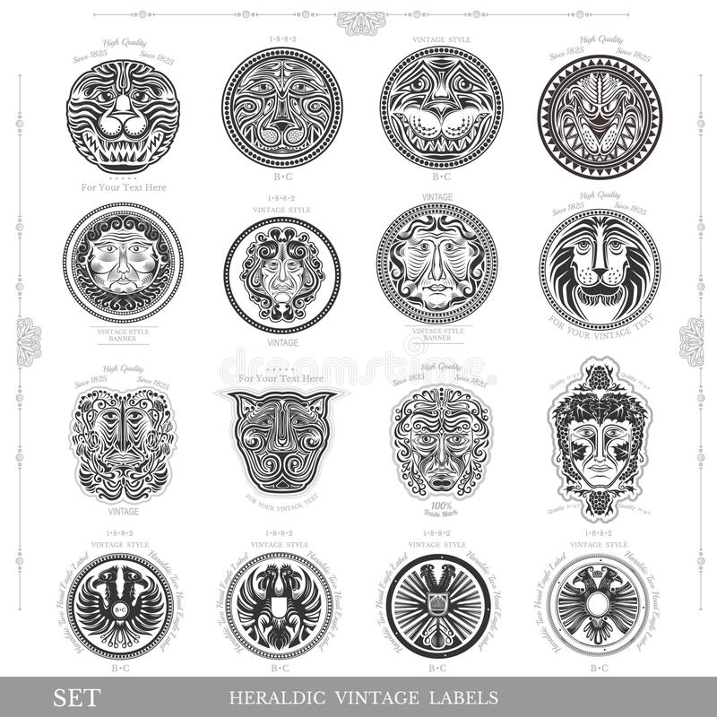 Reeks kleuren uitstekende koninklijke etiketten met van de leeuwadelaar en mens gezicht vector illustratie