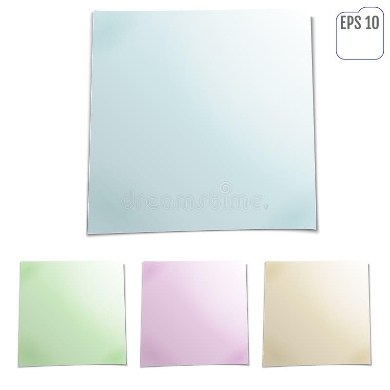 Reeks kleurenbladen van notadocumenten Vier Kleverige nota's Vector IL stock illustratie