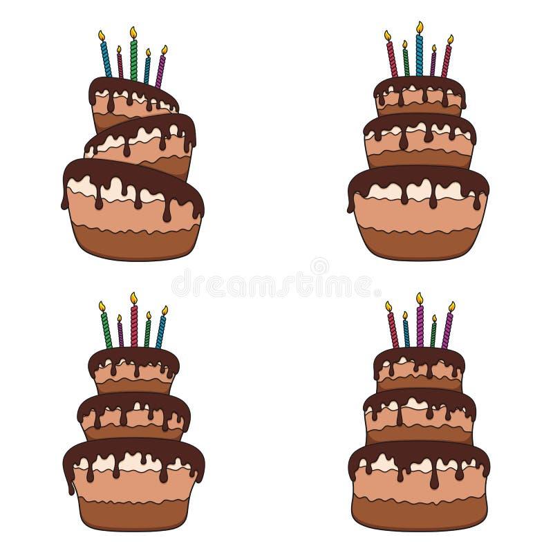 Reeks kleurenillustraties met een chocoladecake Geïsoleerde vectorvoorwerpen royalty-vrije illustratie