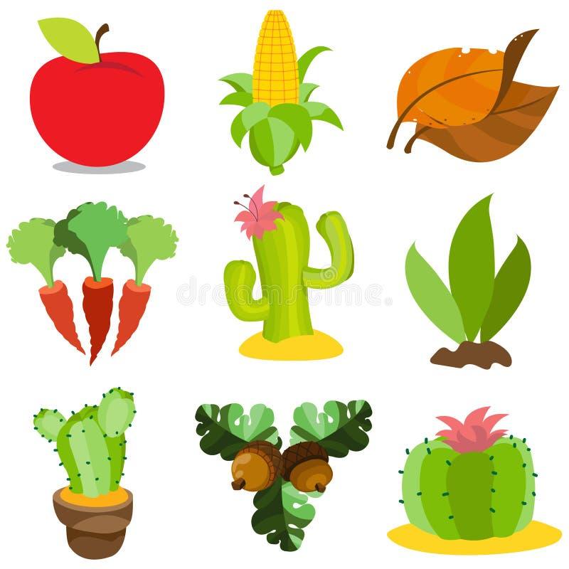 Reeks kleurenillustraties op het thema van de landbouw Apple, graan, wortelen, cactussen, tabak, eikels Groenten, vruchten, insta royalty-vrije illustratie