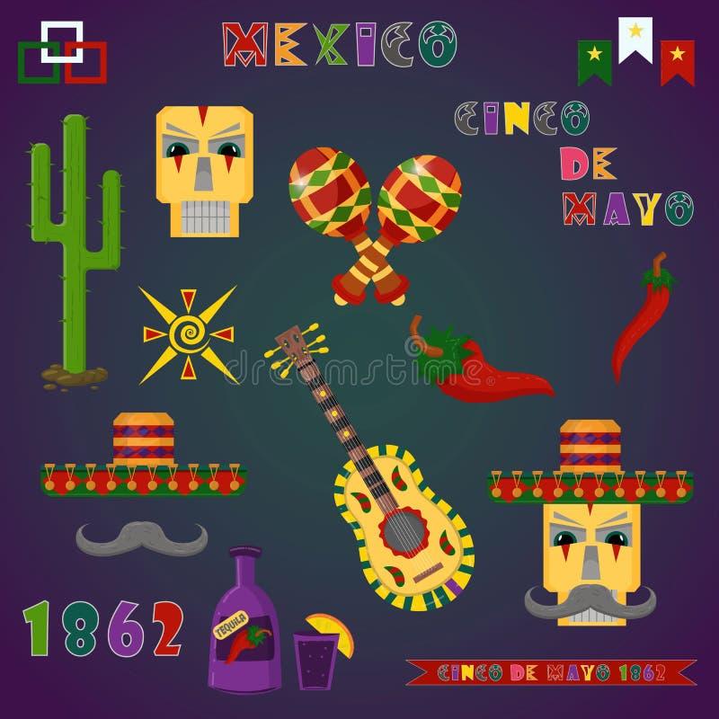 Reeks kleurenillustraties van elementen, pictogrammen, voor ontwerp op het Mexicaanse thema van de viering van Cinco DE Mayo in d royalty-vrije illustratie