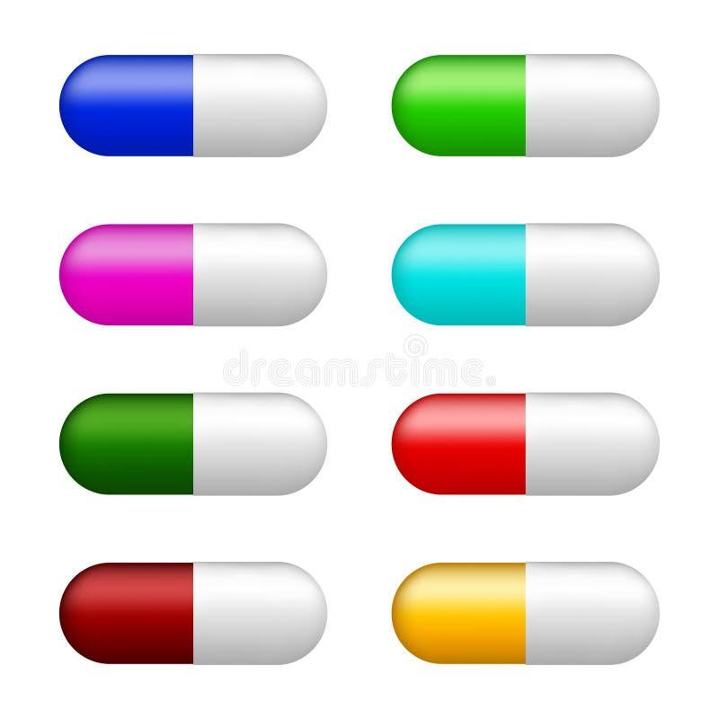 Reeks kleurenpillen vector illustratie