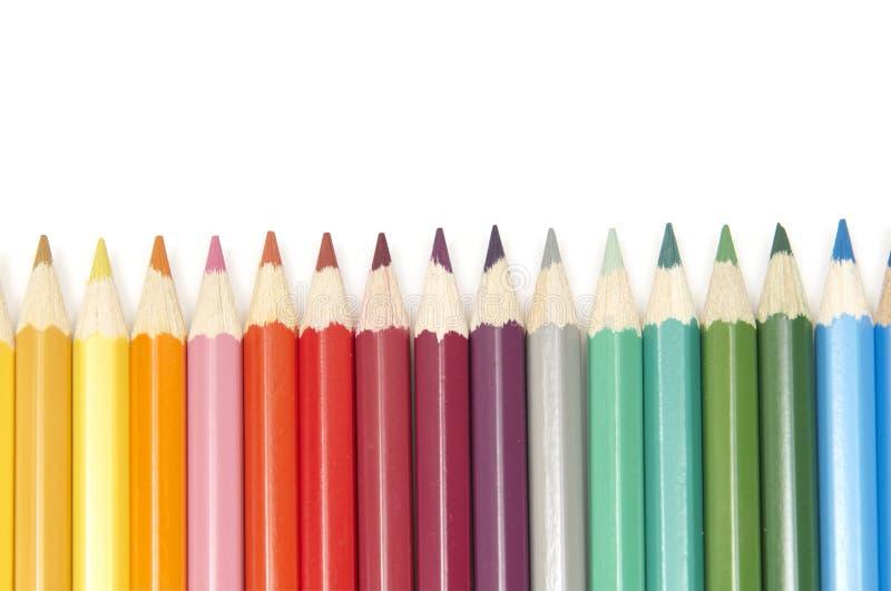 Reeks kleurenpotloden stock foto's