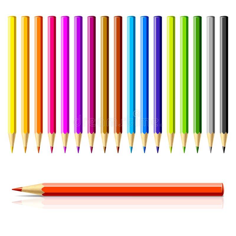 Reeks kleurenpotloden royalty-vrije illustratie