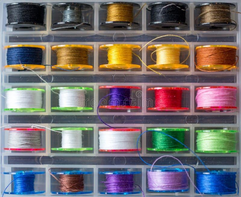 Reeks kleurnaaithreads in houten compartiment op witte achtergrond royalty-vrije stock afbeeldingen