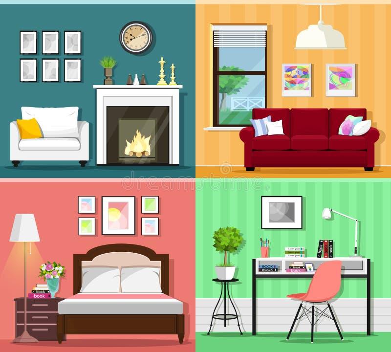 Reeks kleurrijk grafisch ruimtebinnenland met meubilairpictogrammen: woonkamers, slaapkamer en huisbureau Vlakke stijl vectorillu vector illustratie