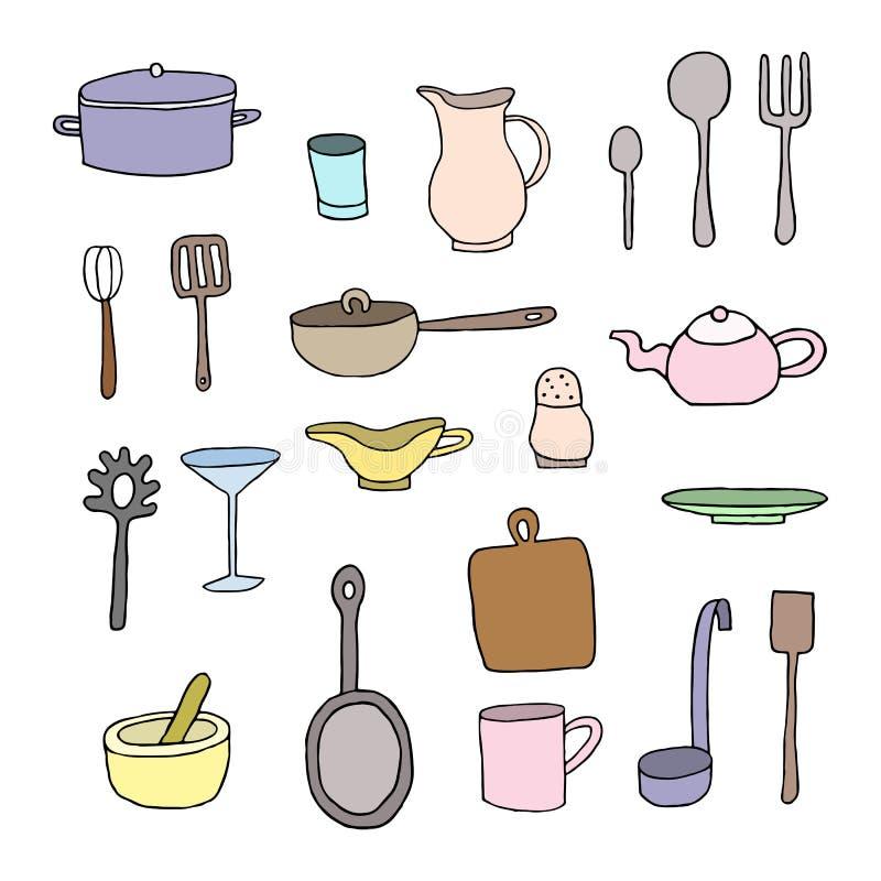 Reeks kleurrijk keukengereedschap stock illustratie