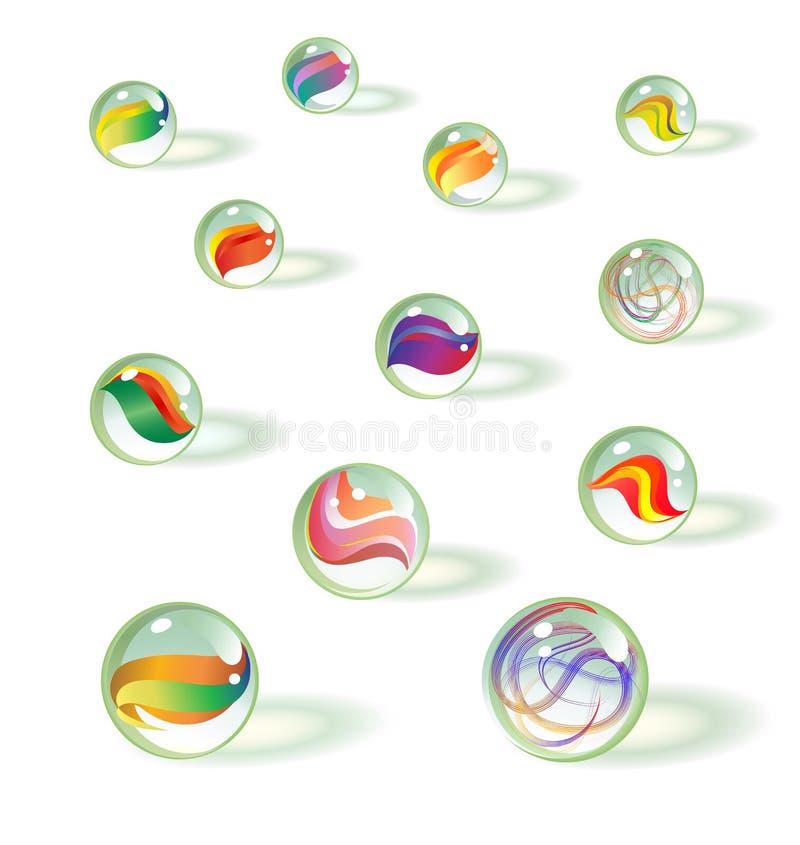 Reeks kleurrijk realistisch glasstuk speelgoed marmer royalty-vrije illustratie