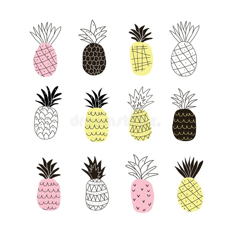 Reeks kleurrijke abstracte ananassen royalty-vrije illustratie
