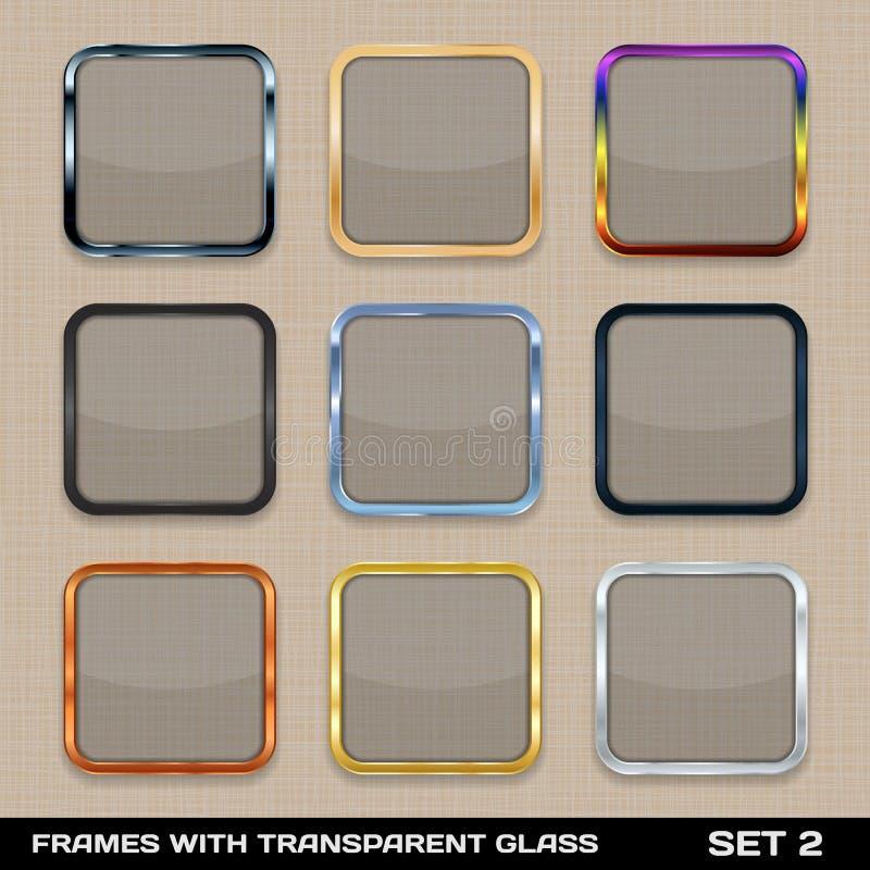 Reeks Kleurrijke App Kaders van het Pictogram vector illustratie
