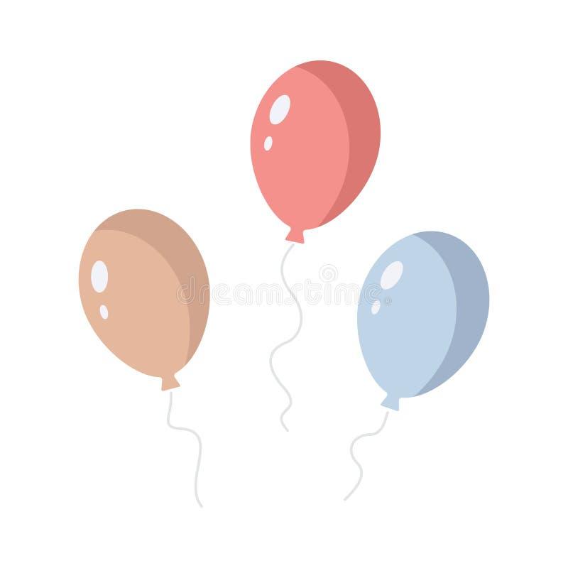 Reeks kleurrijke ballons geïsoleerde vectorpictogrammen Beeldverhaalballons voor verjaardagspartij stock illustratie