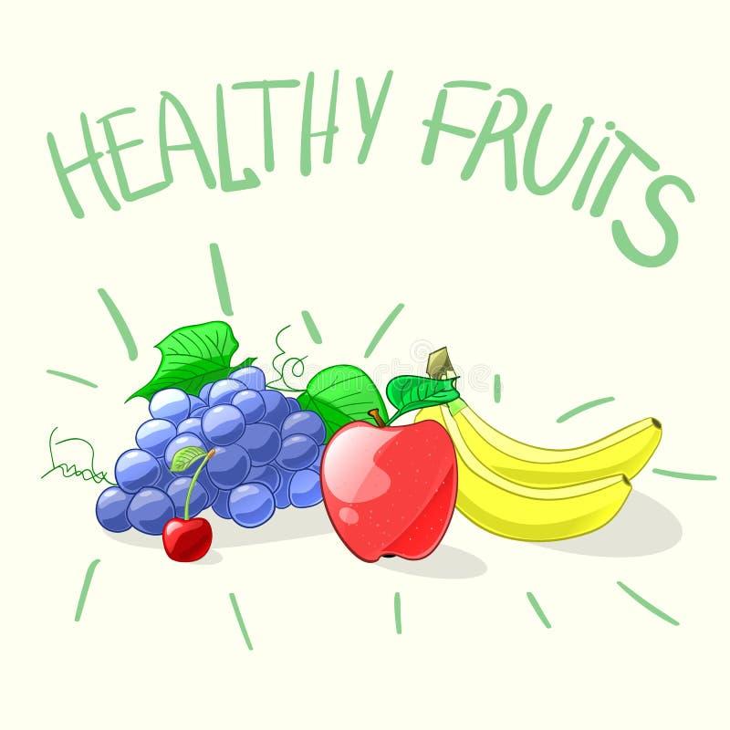 Reeks kleurrijke beeldverhaal gezonde vruchten Vector illustratie vector illustratie