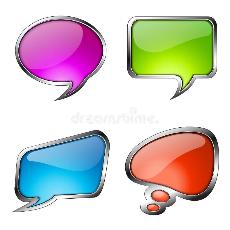 Reeks kleurrijke bellen van de glastoespraak stock illustratie