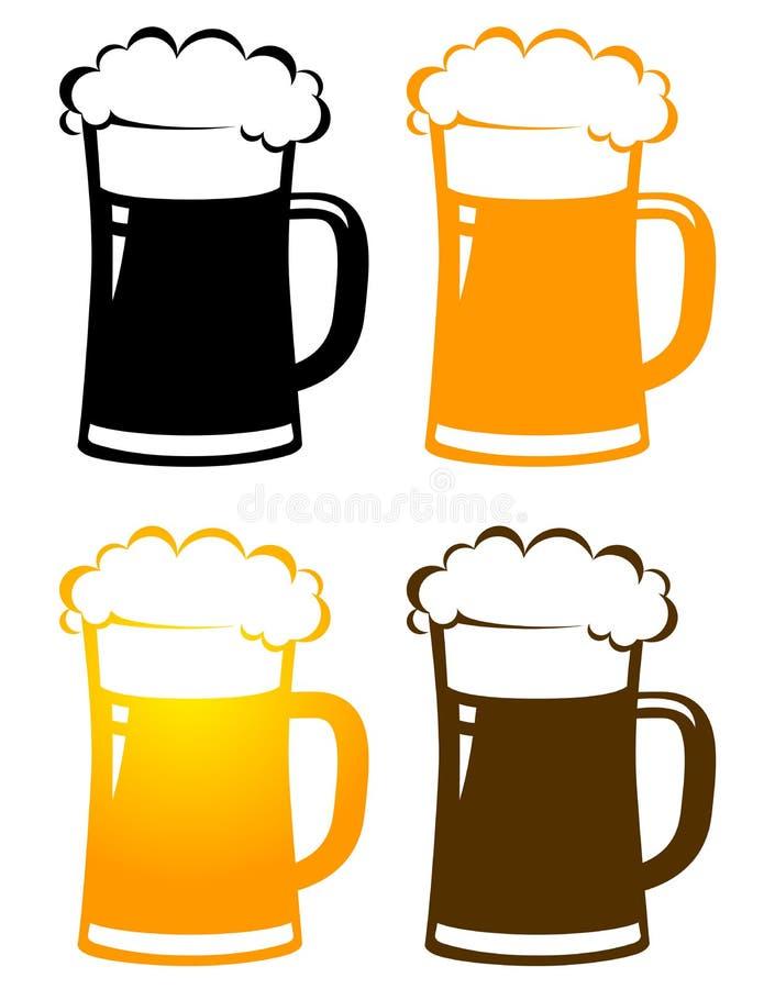 Reeks kleurrijke biermokken met schuim vector illustratie