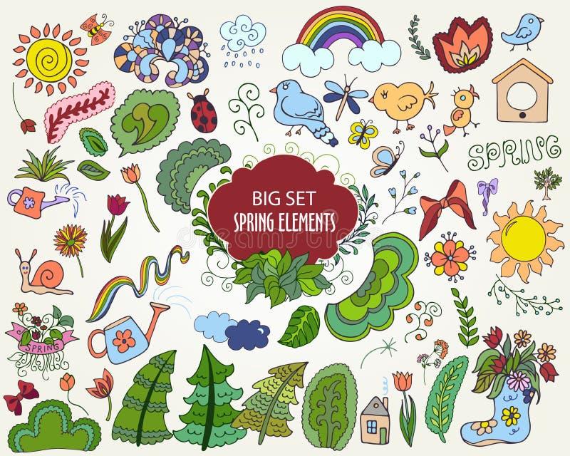 Reeks kleurrijke Bloemen de Lenteelementen in de stijl van de overzichtskrabbel stock illustratie