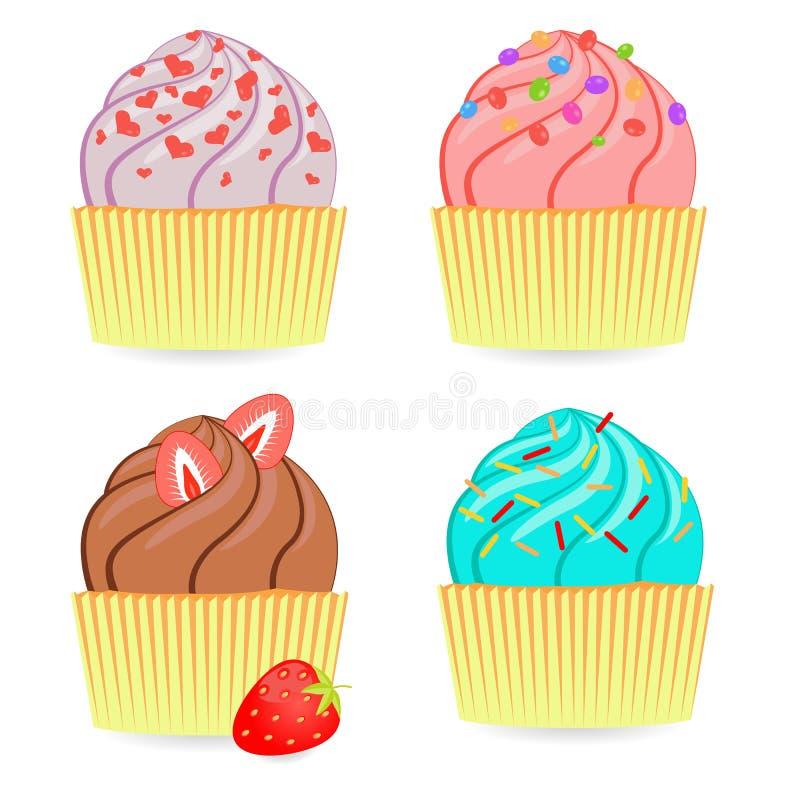 Reeks kleurrijke cakes stock illustratie