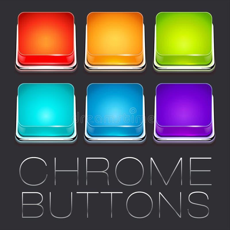 Reeks Kleurrijke Chrome-Knopen royalty-vrije illustratie