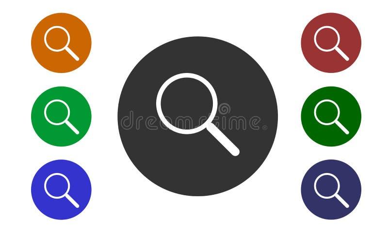 Reeks kleurrijke cirkelpictogrammen, onderzoek op websites en forums en in e-winkel met een knoop en een beeld van een vergrootgl vector illustratie