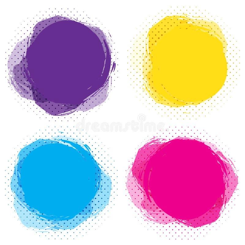 Reeks kleurrijke cirkelvlekken, ronde abstracte banners Malplaatje voor deegtekst Heldere, grappige etiketten, kaarten, stickers vector illustratie