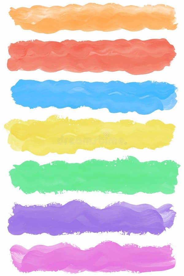 Reeks kleurrijke de borstelslagen van de waterverfverf royalty-vrije illustratie