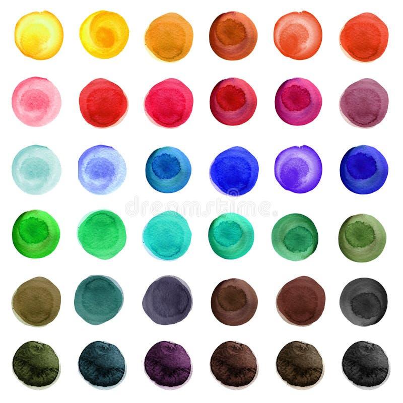 Reeks kleurrijke die waterverfcirkels op wit worden geïsoleerd vector illustratie