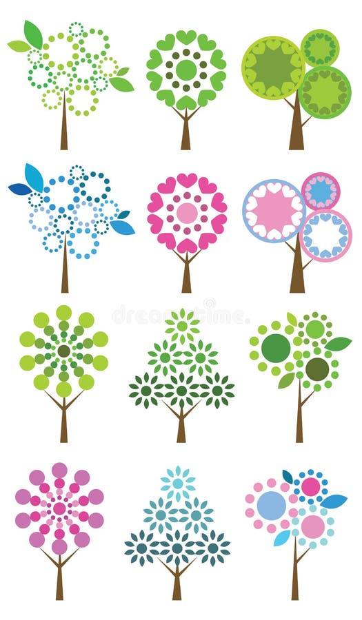 Reeks kleurrijke bomen, vectorillustratie. royalty-vrije illustratie