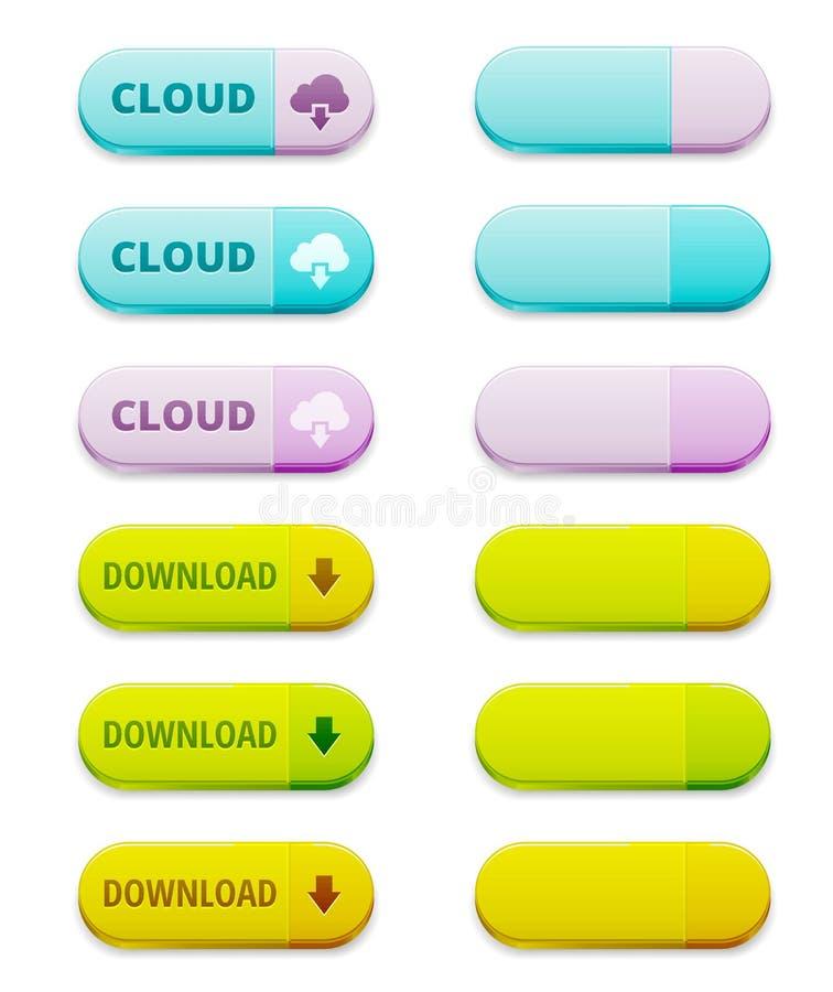 Reeks download en wolken gegevensverwerkingsknopen stock illustratie