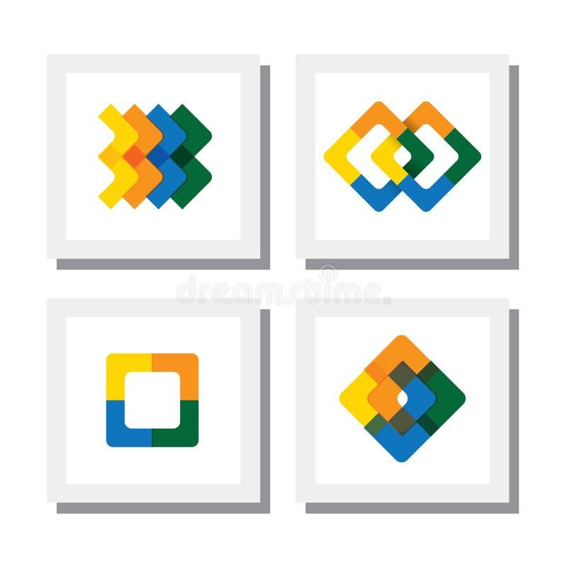 Reeks kleurrijke embleemontwerpen van geometrische vormen zoals vierkanten - stock illustratie