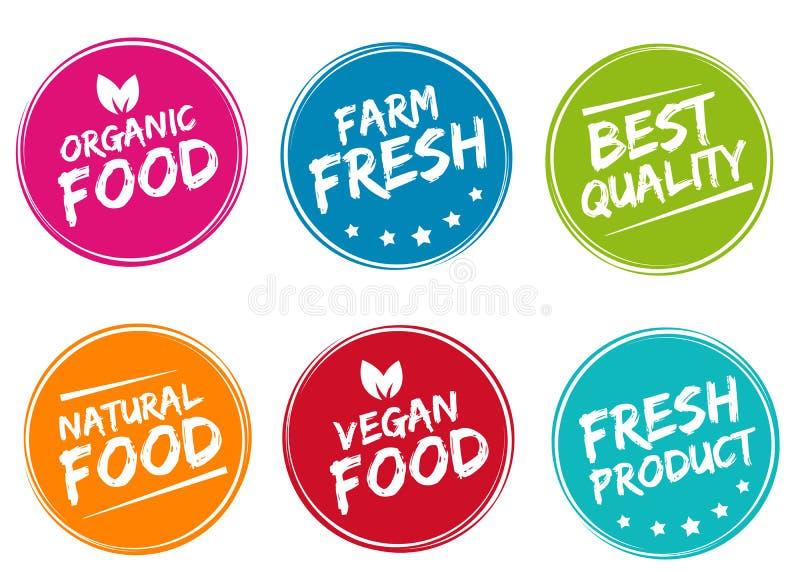 Reeks kleurrijke etiketten en kentekens voor organische, natuurlijke, bio en eco vriendschappelijke producten royalty-vrije illustratie
