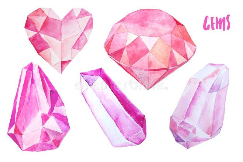 Reeks kleurrijke gemmen en kristallen vector illustratie