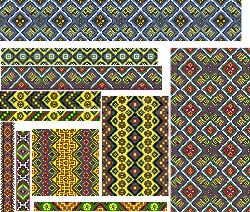 Reeks Kleurrijke Geometrische Etnische Patronen voor Borduurwerksteek vector illustratie