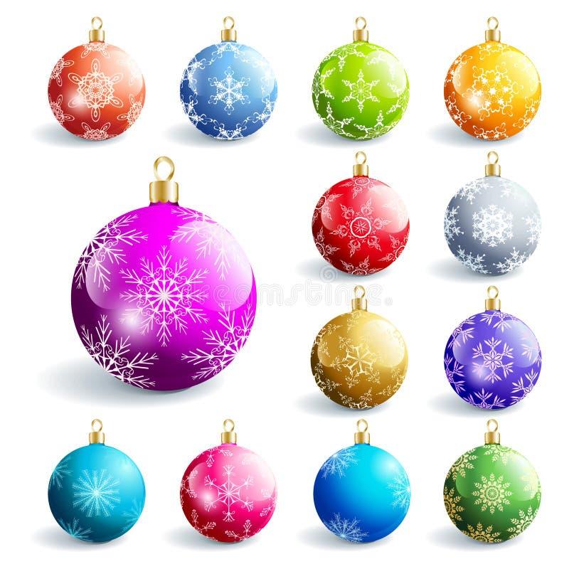 Reeks kleurrijke gloeiende Kerstmisballen vector illustratie