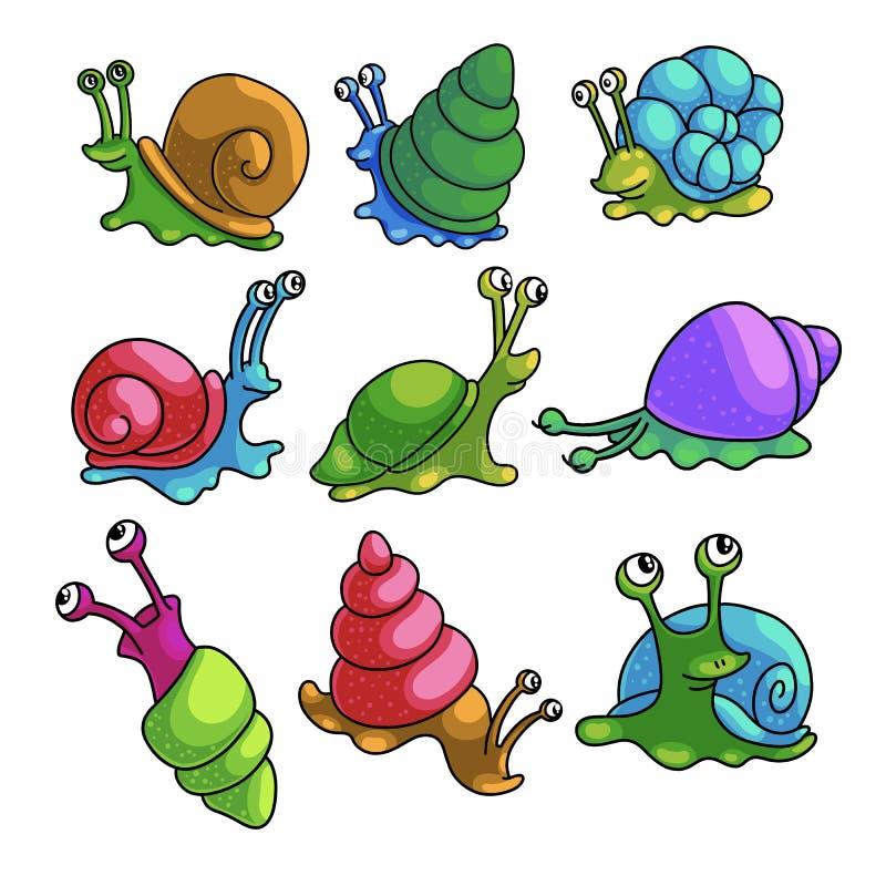 Reeks kleurrijke grappige slakken van het gebied van de stadsdierentuin royalty-vrije illustratie