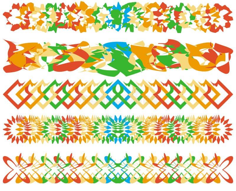 Reeks kleurrijke grenzen stock illustratie