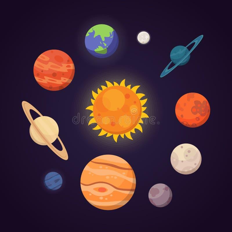 Reeks kleurrijke heldere planeten Zonnestelsel, ruimte met sterren Leuke beeldverhaal vectorillustratie stock illustratie